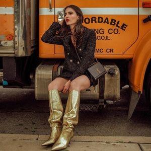 NWT Zara Metallic Kitten Heel Boots